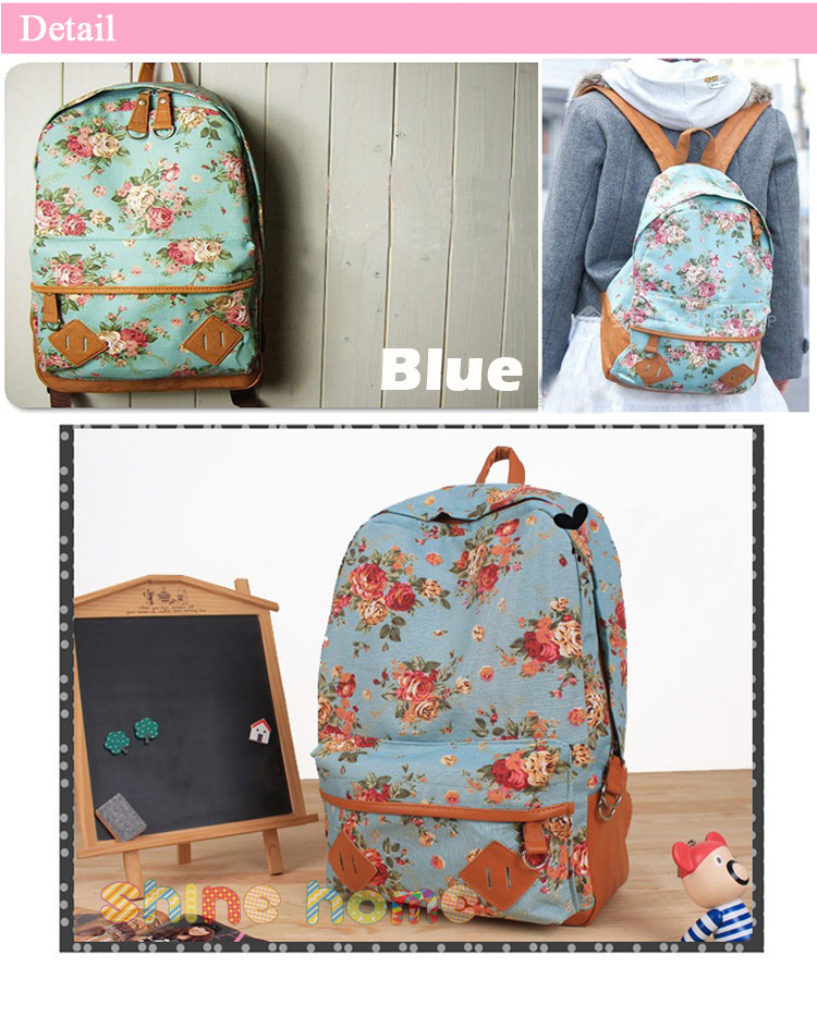 Women Girl Vintage Floral Flower Canvas Bag Schoolbag