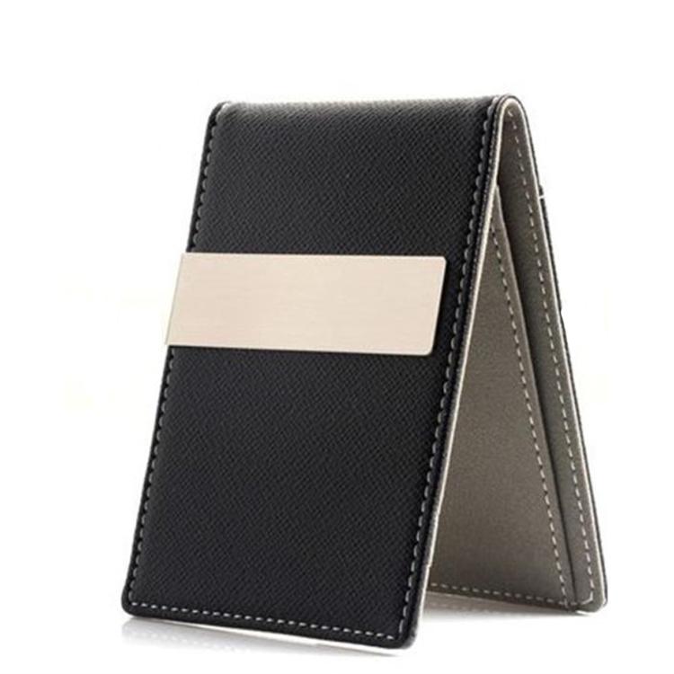 designer money clip card holder wcl4  Mens Leather Silver Money Clip Credit Card Holder Wallet