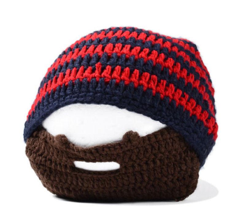 Men Winter Knit Crochet Beard Beanie Mustache Face Mask