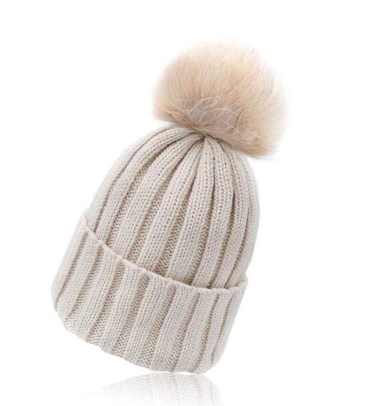 warm winter wool knit beanie fur pom bobble
