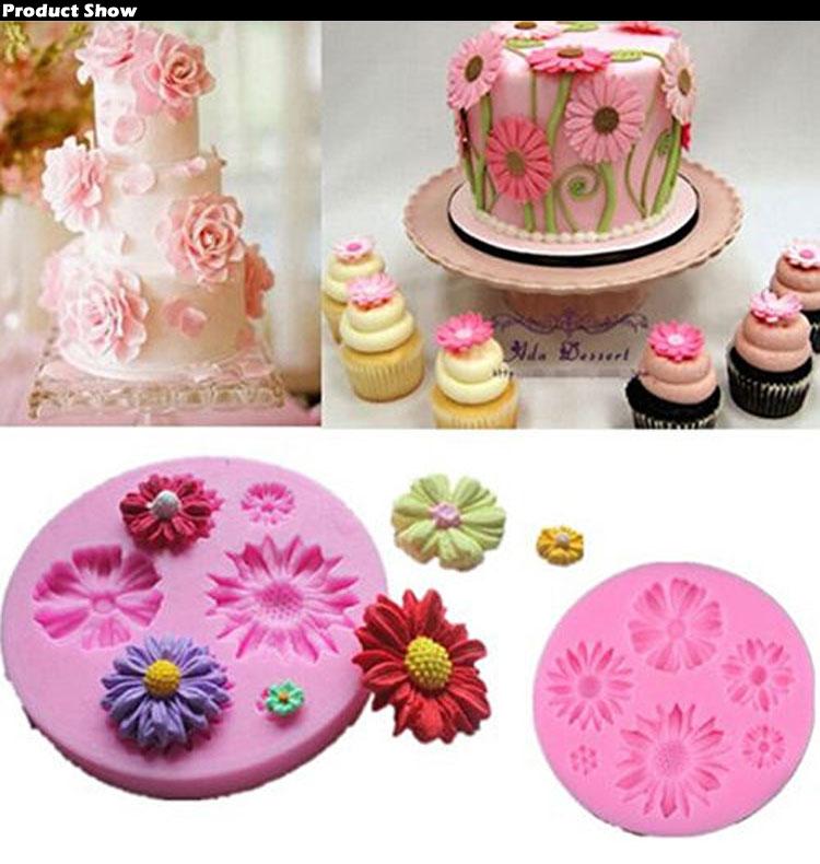 3D Flower Fondant Cake Mold Silicone Mould Sugarcraft ...