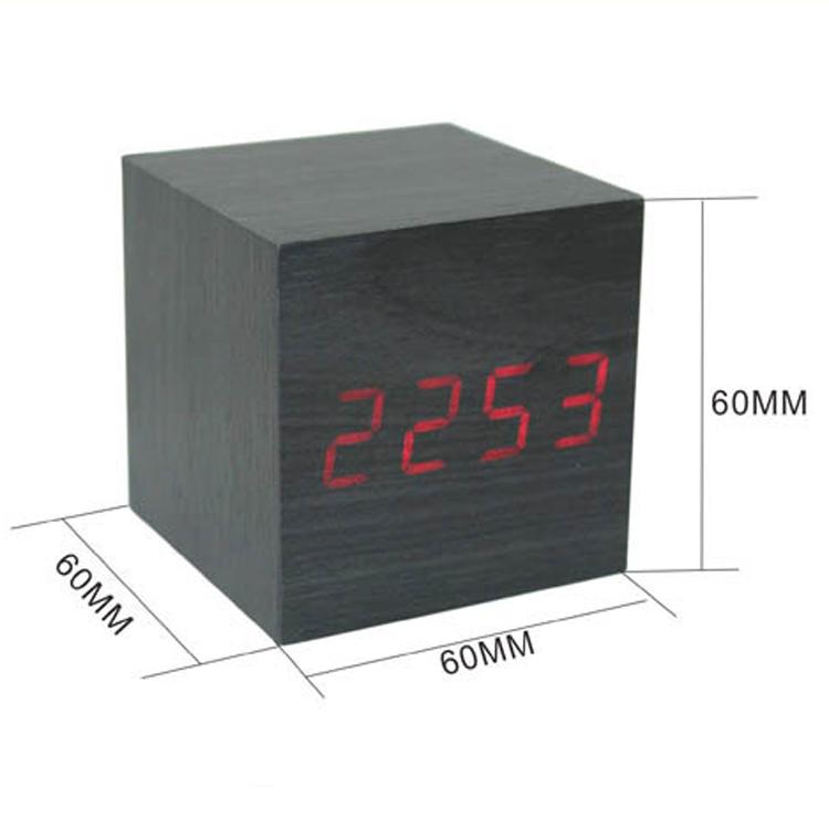 Modern Wood Cube Led Alarm Voice Control Digital Desk