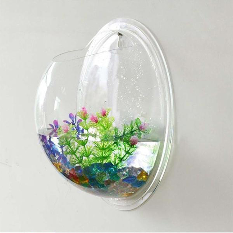 New wall mounted fish tank bowl bubble aquarium hanging for Fish tank terrarium