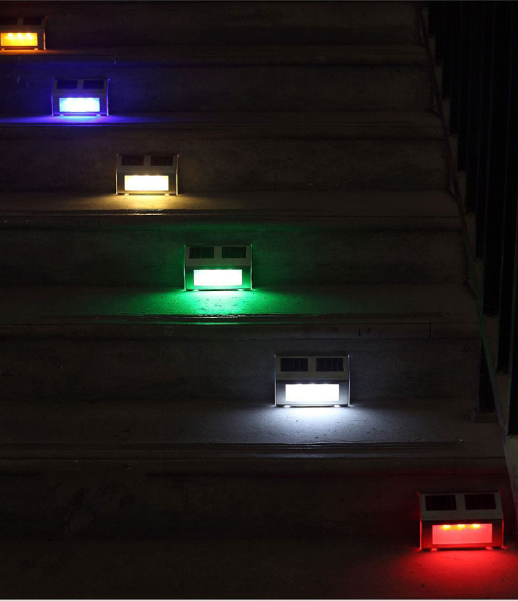 Solar power light path stair 3led fence wall landscape for Cojines sofa exterior