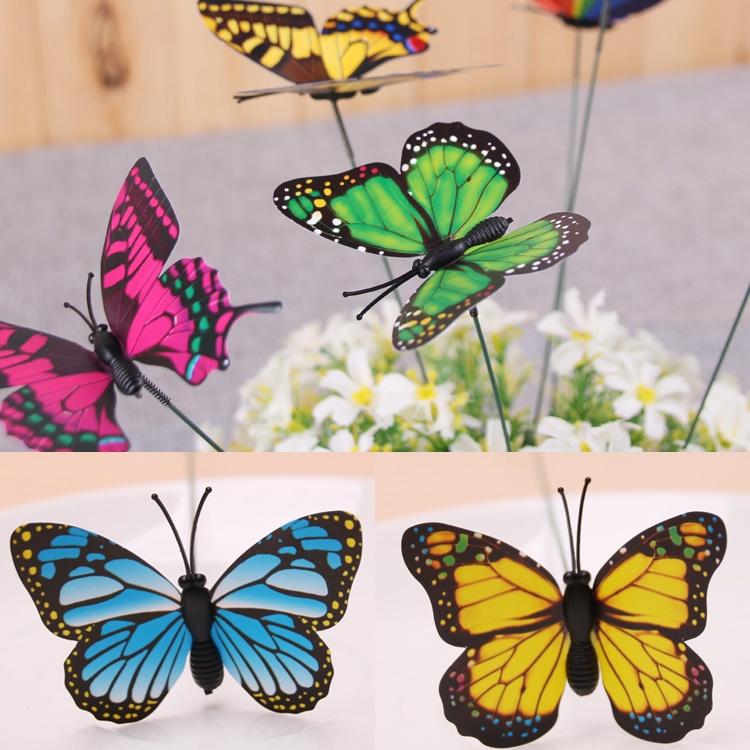 Butterfly stakes outdoor yard home flower pot bed garden for Butterfly lawn decorations