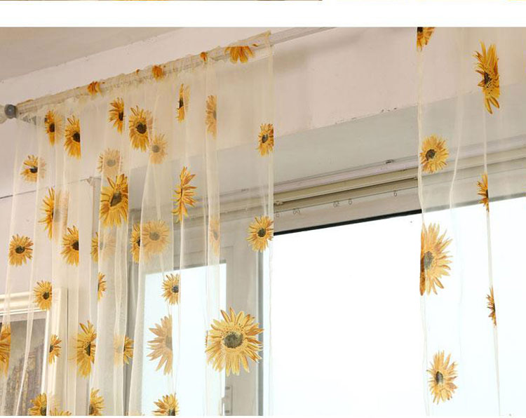 Sunflower Floral Tulle Voile Curtain Home Window Balcony Panel Sheer Valance Ebay