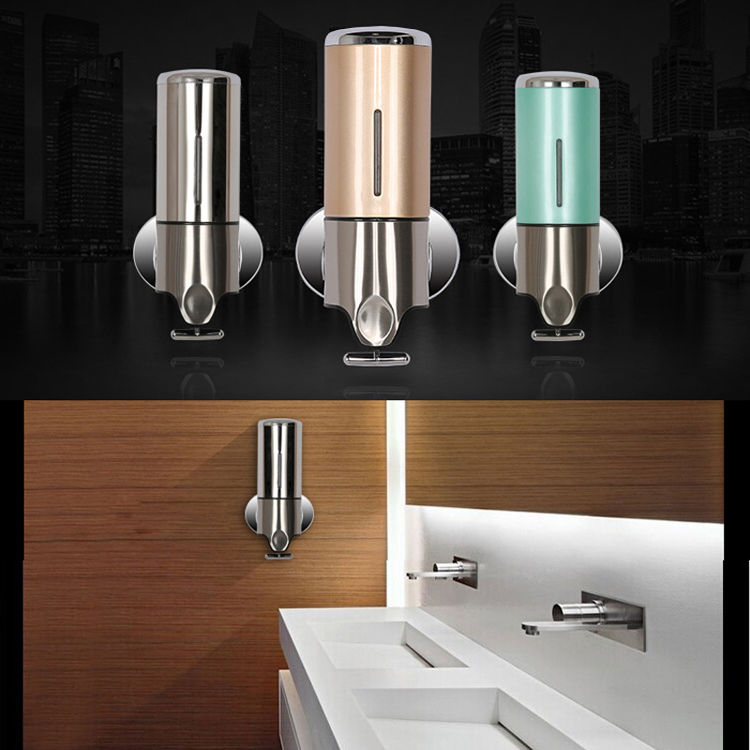 Sliver bathroom wall mount soap shower shampoo dispenser for Liquid soap dispenser for bathroom